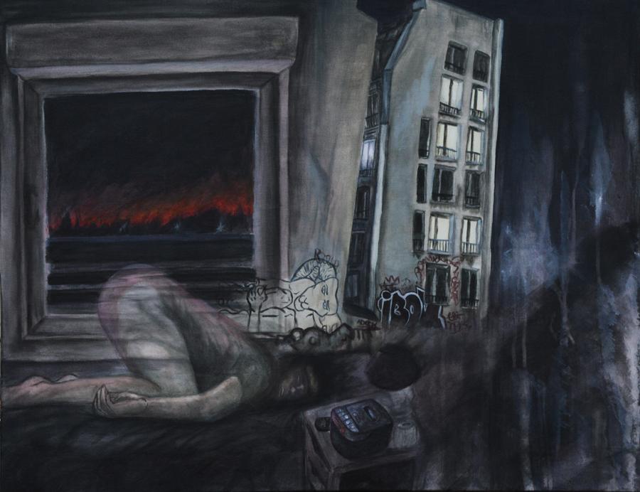 Luna Petit, sans titre, acrylique et peinture à l'huile sur toile, 90 cm x 70 cm