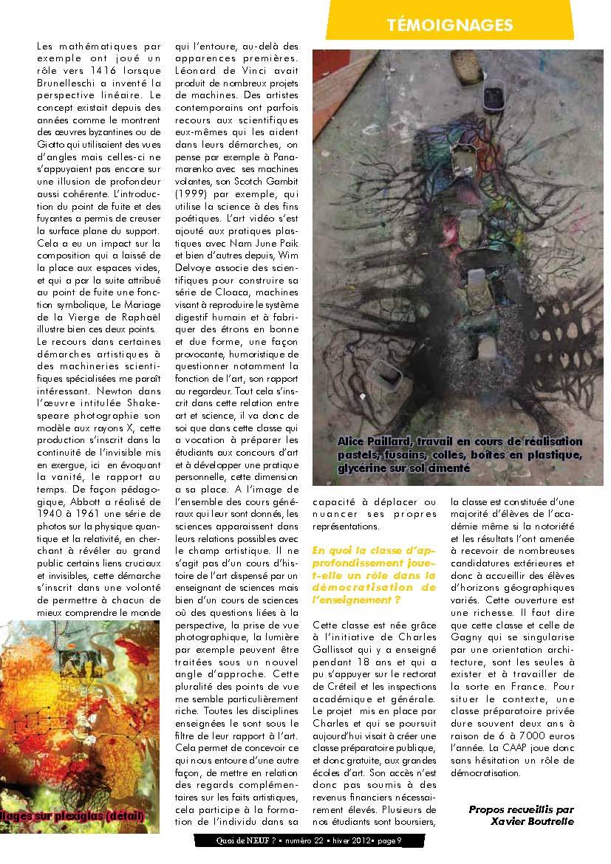 Page 9 de Quoi_de_neuf_22_Arts_et_sciences_hiver_2012-3-2